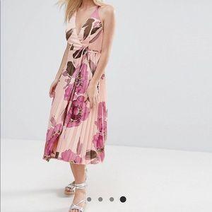 Floral midi criss cross back dress